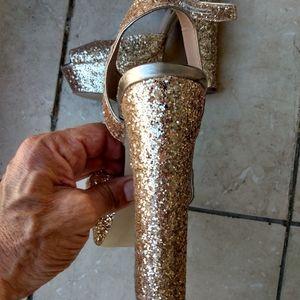Steve Madden gold glitter platforms